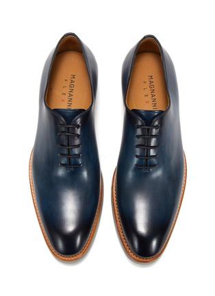 模特儿示范图 - 点击放大 - MAGNANNI - 圆头系带真皮鞋