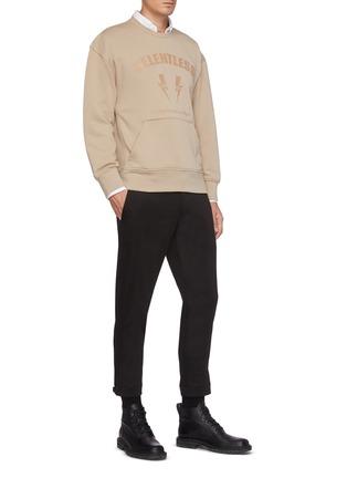 模特儿示范图 - 点击放大 - NEIL BARRETT - 拉链裤脚口混棉及莫代尔长裤