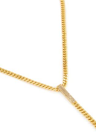 细节 - 点击放大 - CZ BY KENNETH JAY LANE - 方晶锆石点缀链条金属吊坠项链