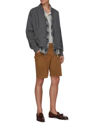 模特儿示范图 - 点击放大 - BARENA - PIERO ROMASO拼色格纹西服外套