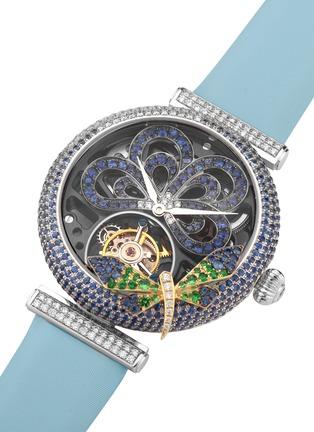 细节 - 点击放大 - SARAH ZHUANG - X 万希泉Dragonfly Goddess钻石蓝宝石18k金蜻蜓缀饰陀飞轮腕表