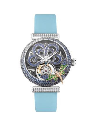 首图 - 点击放大 - SARAH ZHUANG - X 万希泉Dragonfly Goddess钻石蓝宝石18k金蜻蜓缀饰陀飞轮腕表