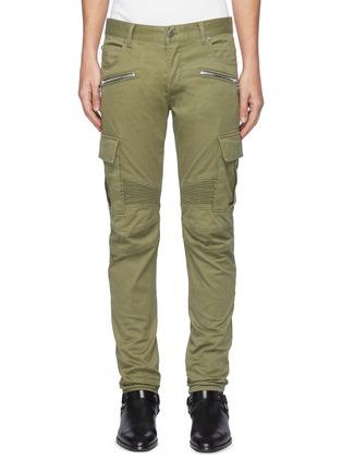 首图 - 点击放大 - BALMAIN - 翻盖口袋拉链褶裥棉质长裤