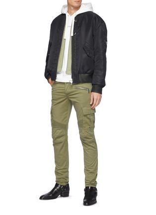 模特儿示范图 - 点击放大 - BALMAIN - 翻盖口袋拉链褶裥棉质长裤