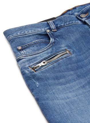 - BALMAIN - 褶裥磨破水洗锥形棉质牛仔裤