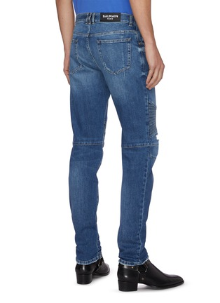 背面 - 点击放大 - BALMAIN - 褶裥磨破水洗锥形棉质牛仔裤