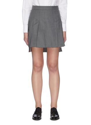 首图 - 点击放大 - THOM BROWNE - 拼色条纹前短后长百褶半裙