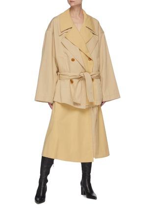 模特儿示范图 - 点击放大 - LEMAIRE - 拼接搭带棉混亚麻半裙