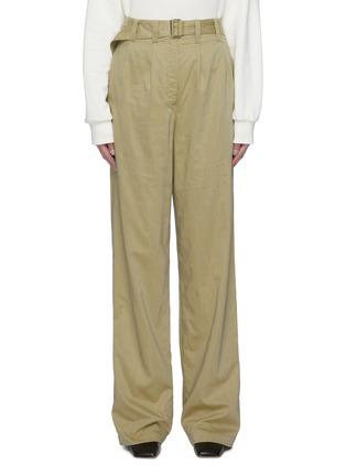 首图 - 点击放大 - LEMAIRE - 腰带褶裥棉混丝直脚长裤