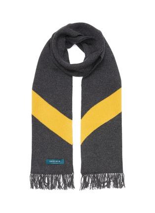 首图 - 点击放大 - DREYDEN - 须边拼色羊绒针织围巾