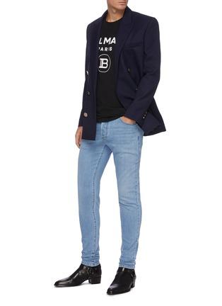模特儿示范图 - 点击放大 - BALMAIN - B logo水洗修身棉质牛仔裤
