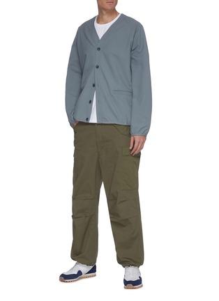 模特儿示范图 - 点击放大 - NANAMICA - 翻盖口袋混棉工装裤
