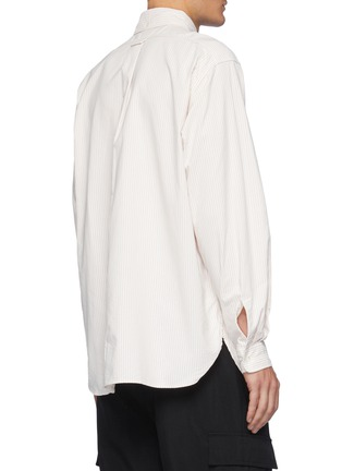 背面 - 点击放大 - NANAMICA - 拼贴口袋拼色条纹混棉衬衫
