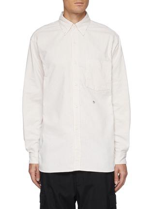 首图 - 点击放大 - NANAMICA - 拼贴口袋拼色条纹混棉衬衫