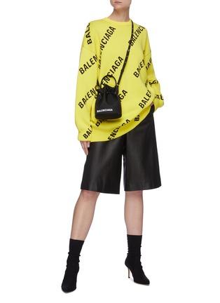 模特儿示范图 - 点击放大 - BALENCIAGA - 斜logo混棉针织衫