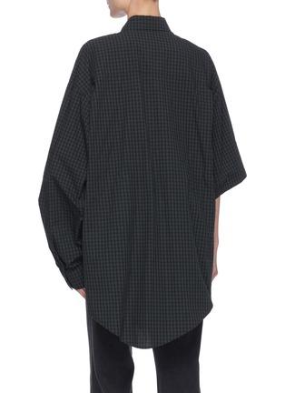背面 - 点击放大 - BALENCIAGA - 不对称衣袖拼色格纹纯棉衬衫