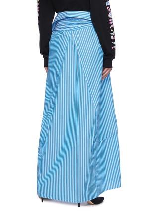 背面 - 点击放大 - BALENCIAGA - 系结拼色条纹纯棉半裙