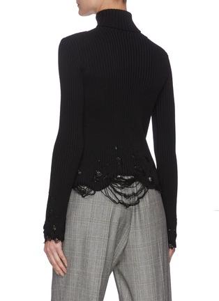 背面 - 点击放大 - BALENCIAGA - 高领磨破初剪羊毛针织衫