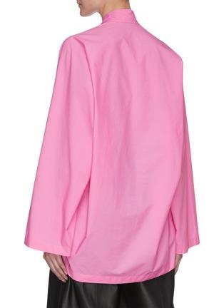 背面 - 点击放大 - BALENCIAGA - 领巾褶裥纯棉上衣