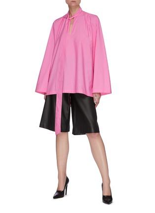 模特儿示范图 - 点击放大 - BALENCIAGA - 领巾褶裥纯棉上衣
