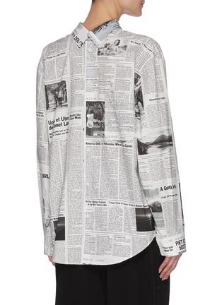 背面 - 点击放大 - BALENCIAGA - 双开襟报纸图案纯棉衬衫