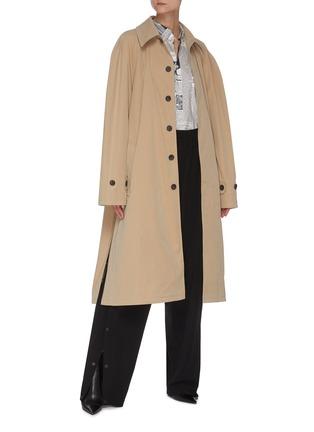 模特儿示范图 - 点击放大 - BALENCIAGA - 双开襟报纸图案纯棉衬衫