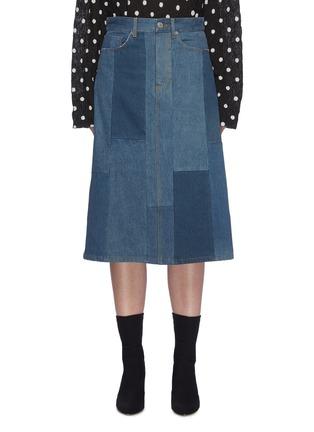 首图 - 点击放大 - BALENCIAGA - 拼色水洗纯棉牛仔半裙