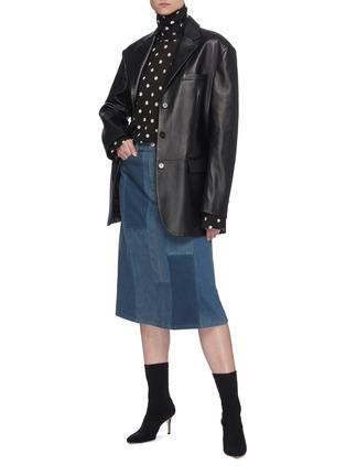 模特儿示范图 - 点击放大 - BALENCIAGA - 拼色水洗纯棉牛仔半裙