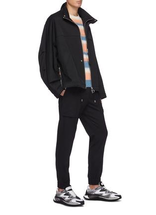 模特儿示范图 - 点击放大 - SOLID HOMME - 松紧裤腰混羊毛休闲裤