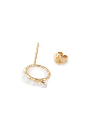 细节 - 点击放大 - PERSÉE PARIS - The Rain Song钻石珍珠点缀18k黄金耳环
