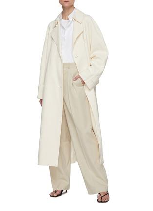 模特儿示范图 - 点击放大 - THE ROW - 褶裥直脚纯棉西服长裤