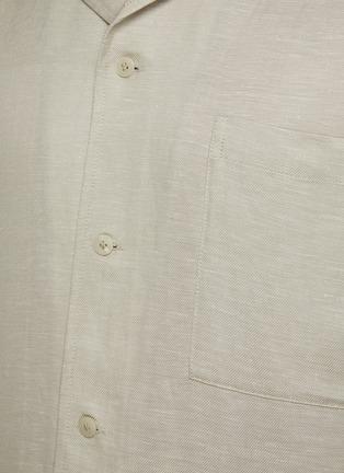 - EQUIL - 尖领混亚麻短袖衬衫