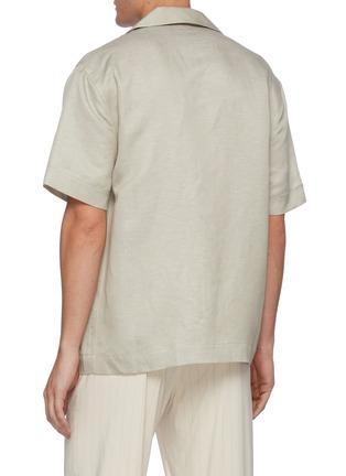 背面 - 点击放大 - EQUIL - 尖领混亚麻短袖衬衫