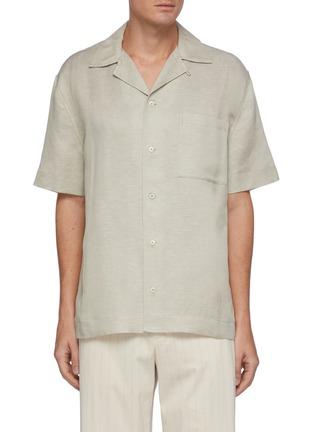 首图 - 点击放大 - EQUIL - 尖领混亚麻短袖衬衫