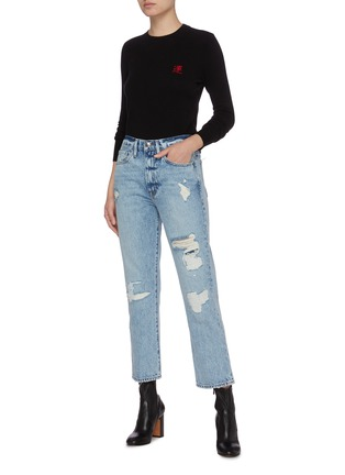 模特儿示范图 - 点击放大 - FRAME DENIM - 汉字及英文字点缀羊毛混羊绒针织衫