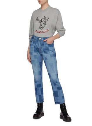 模特儿示范图 - 点击放大 - FRAME DENIM - Good luck牛图案有机皮马棉卫衣