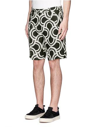 正面 -点击放大 - DOLCE & GABBANA - 螺旋印花亚麻短裤