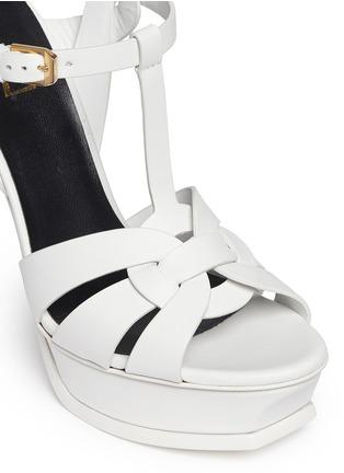 细节 - 点击放大 - SAINT LAURENT - 扭结T字搭带高跟凉鞋