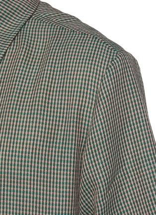 - CORNERSTONE - 拼色细格纹羊毛混马海毛短袖衬衫
