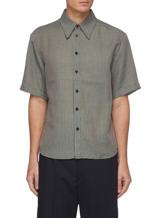 首图 - 点击放大 - CORNERSTONE - 拼色细格纹羊毛混马海毛短袖衬衫