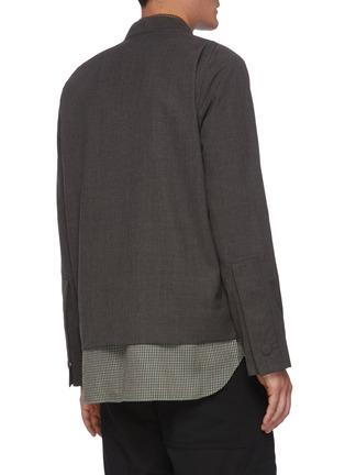 背面 - 点击放大 - CORNERSTONE - 拼色格纹衬衫式下摆混羊毛夹克
