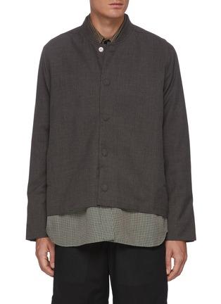 首图 - 点击放大 - CORNERSTONE - 拼色格纹衬衫式下摆混羊毛夹克