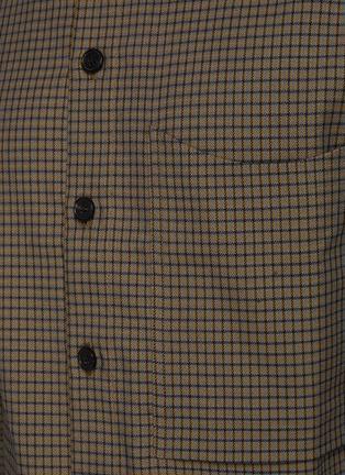 - CORNERSTONE - 拼色格纹混亚麻及棉衬衫