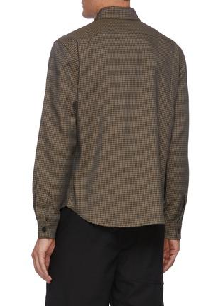 背面 - 点击放大 - CORNERSTONE - 拼色格纹混亚麻及棉衬衫