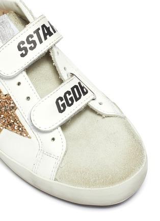 细节 - 点击放大 - GOLDEN GOOSE - OLD SCHOOL儿童款魔术贴搭带做旧感真皮运动鞋