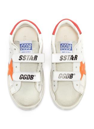 模特儿示范图 - 点击放大 - GOLDEN GOOSE - OLD SCHOOL幼儿款魔术贴搭带做旧感真皮运动鞋