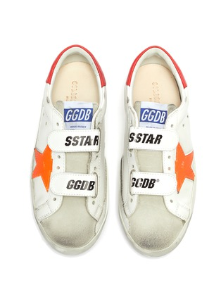 模特儿示范图 - 点击放大 - GOLDEN GOOSE - OLD SCHOOL儿童款魔术贴搭带做旧感真皮运动鞋