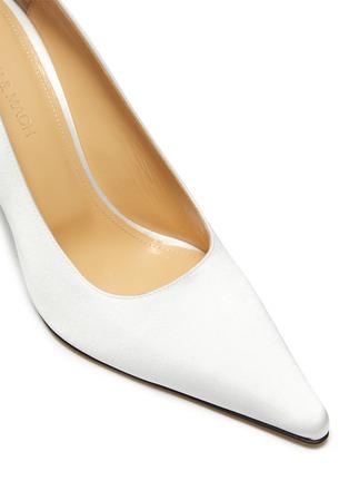 细节 - 点击放大 - MACH & MACH - 仿水晶点缀蝴蝶结缎面高跟鞋