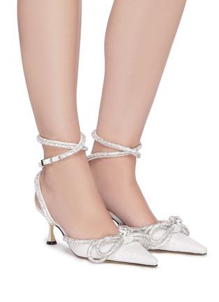 模特示范图 - 点击放大 - MACH & MACH - 搭带仿水晶蝴蝶结闪粉高跟鞋