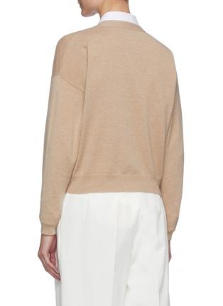 背面 - 点击放大 - BRUNELLO CUCINELLI - V领纹理钮扣混初剪羊毛针织开衫